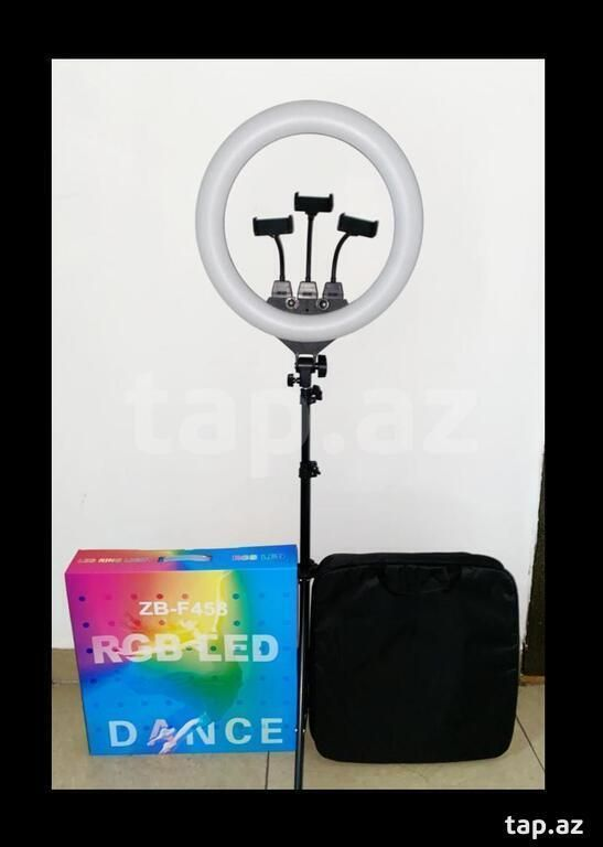 Цветная кольцевая лампа ZB-F458 RGB LED Dance 45 см+ Три держателя +Пульт +Штатив 220 см.